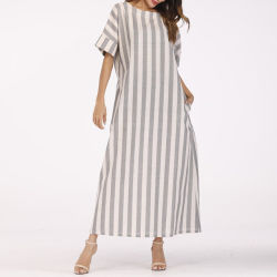 Las mujeres Plus Size diario gris de manga corta vestido de algodón a rayas rayas Algodón TEJIDO Dress
