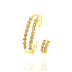 Manguito de design aberto Bangle concisa gold plating 24K Acessório de jóias de prata