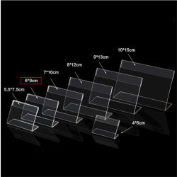 De plastic Duidelijke AcrylPS 2mm Tribunes van de Houder van de Klem van de Naam van het Etiket van de Kaart van het Document van de Bevordering van de Vertoning van het Teken op Countertop V van de Lijst Type