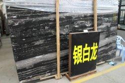 Abgezogenes Großhandelschina/polierte Steinplatten zurechtgeschnittenen Fliese-silbernen Drache Nero Portoro Marmor für Countertop-Fußboden-Wandverkleidung