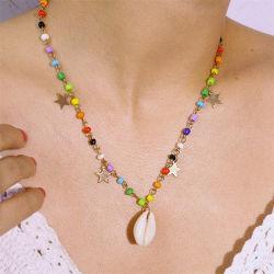 المرأة الملونة على طراز العطلات العرقية في الأرز قطع مصنوعة يدويا عقد مجوهرات الأزياء من نوع Star Natural Shell Chain ذات الخمس نجوم