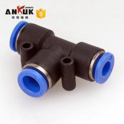 3 Methode T formte Außendurchmesser-Schlauch-Gefäß-eindrücken des Stück-pneumatisches 10mm 8mm 12mm 6mm 4mm 16mm Luft-Gas-Befestigungs-schnelle Befestigungs-Verbinder-Adapter