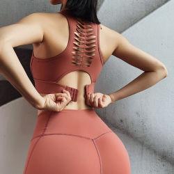 Parte posteriore vuota della feritoia la bella mette in mostra i vestiti Shockproof di yoga della biancheria intima di sport di yoga del broccato a doppia faccia femminile del reggiseno