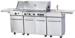 5 Brenner-Edelstahl Outdoor BBQ Kitchen mit Cabinet