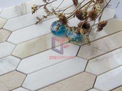 Forme de flèche par en mosaïque de marbre crème et de marbre blanc (CFS1205)