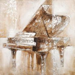装飾のためのハンドメイドのピアノ油絵のキャンバスの壁の芸術