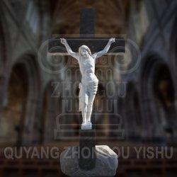 Marbre naturel en Croix sculpté de Jésus statue, sculpture religieuse Crucifix