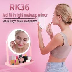 Bague Selfie lumière LED RK36 avec grand miroir de maquillage lampe de poche