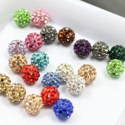 4mm -粘土のShamballaの白いラインストーンとの18mm Multicカラーは宝石類の作成のための水晶ビードを舗装する