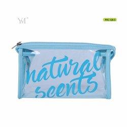 3 COLORES CLAROS CON CREMALLERA DE PVC transparente de la Mujer Señoras bolsas de tocador de marca