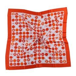 Custom Logo sjaal bedrukt zijde en polyester oranje Polka Dots (LS-36)