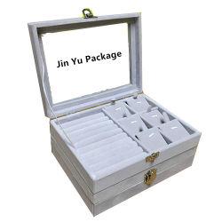 La mode des plateaux de bijoux en bois de velours cadeau boîtes d'Emballage avec fenêtre