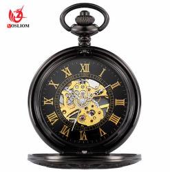 Retro Vintage negro liso Automatic reloj de bolsillo con Chain Bracelet #V973
