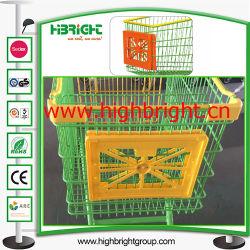 スーパーマーケットのプラスチックショッピングカートの広告枠