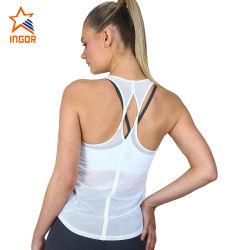 Marchio su ordinazione più ginnastica di donne della parte superiore di serbatoio degli abiti sportivi di forma fisica della maglia della parte posteriore di bianco di formato