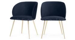 현대 식당 의자 Polished 금 금속 다리 파란 우단 북유럽인 의자