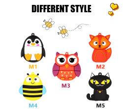 Bonitinha Fancy Animais Cartoon Flash Drive USB Cat Owl Bee Fox Penguin Disco Flash de brindes para crianças a partir de 128 MB para 64 GB