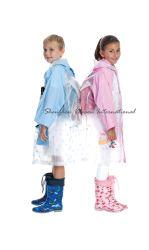 Bonitinha crianças chuva de PVC cubra/chuva Poncho com ar a bordo rasante do Capô