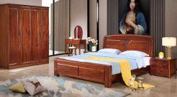 木の旧式なベッドのホーム優雅で旧式な手の木製に切り分けること