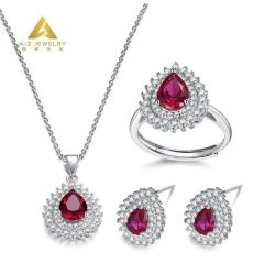 Wedding를 위한 Corundum를 가진 주문 Manufacturer Pear Shaped Gold Jewellery Silver Jewelry Necklace Sets