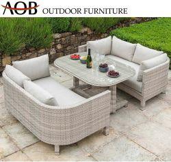Modernes im Freien Freizeit-Rattan-Weidensofa-gesetzte Aluminiumrahmen-Garten-Möbel mit Glastisch