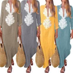Постельное белье женщин хлопок платья платья Maxi Spreader длинной втулки