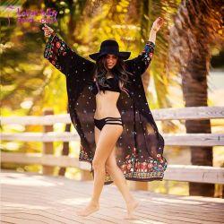 Vacances d'été Femmes couvercle noir robe de plage maxi