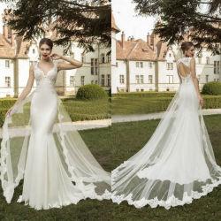 La tapa del panel de mangas tren vestido de novia 2018 Sirena de encaje vestido de novia LV1758