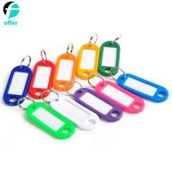 프로모션 선물 분할 링이 있는 다양한 색상의 플라스틱 키 태그 라벨 창