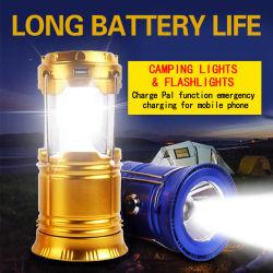 소형 재충전용 태양 야영 손전등을 하이킹하는 LED