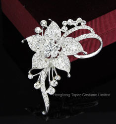 Fleur romantique Crystal broches pour les femmes et de mariage robe de fête de l'argent Rhinestone Broches broches nuptiale (BR-09)