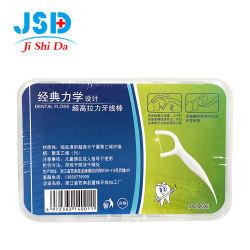 Soins bucco-dentaire de la soie dentaire jetables nettoyage des dents de la soie dentaire Stick Logo personnalisé 60-pack blanc