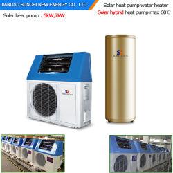 Bewaart het Hete Water van Dhw 60deg c van het huishouden 220V R410A 5kw, 7kw, 9kw 80% de Warmtepomp van de Lucht van de Macht Cop5.32 De Hybride ZonneTank van de Verwarmer van het Water 300L