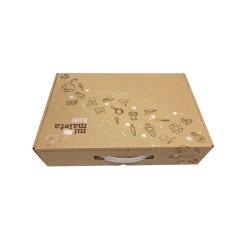 플라스틱 손잡이를 가진 재생된 브라운에 의하여 주름을 잡는 Kraft 종이 선물 상자