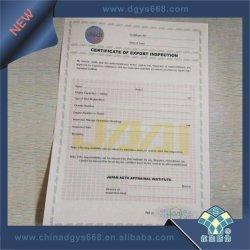 Certificat d'impression papier filigrane de sécurité