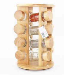 Ecoの友好的な台所スパイスの陶磁器の瓶によってセットされるタケラック