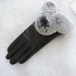 Cálido invierno señoras Guarnecido de pieles de Conejo Guantes de cuero