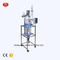 Portátil de laboratorio de flujo tapón de vidrio de la chaqueta de 10L reactor químico