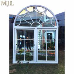 Grill de l'aluminium de fenêtre en verre à battants en bois avec double vitrage isolé