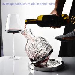 Mano incisa di Rolypoly saltata con il decantatore senza piombo del vino della cristalleria di cristallo della base dell'acciaio inossidabile