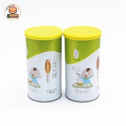 Wholesale latas personalizadas condimento Jarra de té de hierbas té de tubo de papel la comida puede cilindro caja redonda con PVC