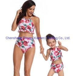 여름 부모 아이 아이 비키니 고정되는 수영복 가족 일치 수영복 수영 착용