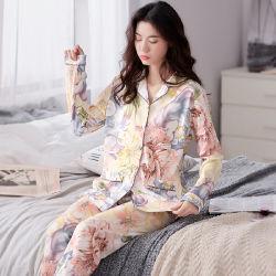 El otoño de la flor de algodón puro ocio traje de pijama de manga larga de solapa cómodo ampliado de la mujer de desgaste de inicio