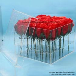 De goedkope Duidelijke Transparante Bloem van de Luxe Acryl/PMMA/Plexiglas/Kristal/Plastiek/de Dozen van de Vertoning van de Gift van PC/van het Perspex/van het Glas met Deksel voor Roze Opslag