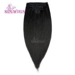 Clip de moda en cabello indio virgen de extensión de cabello humano.
