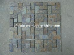 Mosaïque d'ardoise multicolore pour les matériaux de construction de mur en pierre naturelle (M-XZS0413)