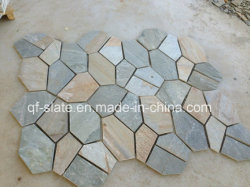 Mattonelle Giallo-Beige-Grige naturali dell'ardesia P014 della Cina per il paesaggio/lastricatore