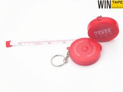 79pouces rétractable rouge ruban à mesurer l'anneau de clé ronde personnalisée