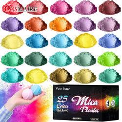 Private Label pigment 25 couleurs Mica poudre Jar défini pour le bricolage Fabrication de savon de résine époxy