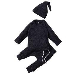 للأطفال طفلة ثبت ملابس يحبك بيجامة [ترنو] مع قبعة طويلة كم [توببنتس] [سليبور] تجهيزات يثبت [إسغ16502]